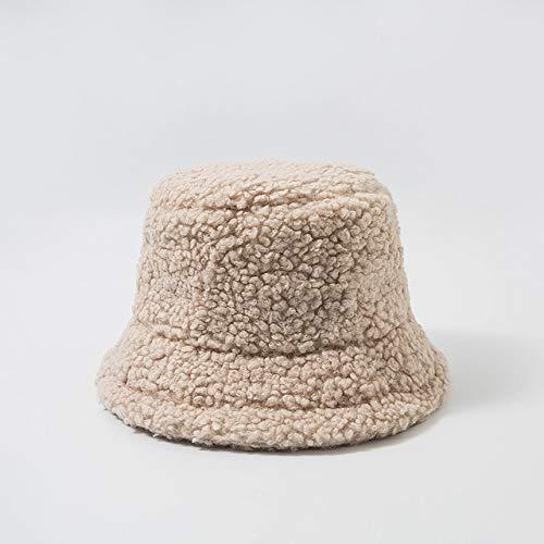 Sombrero de Mujer Sólido y cálido Gorra de Invierno Sombrero de Cubo para Mujer Protección Solar al Aire Libre Sombrero de señora Gorra-Beige