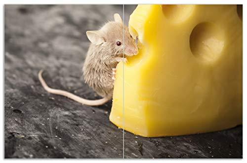 Wallario Herdabdeckplatte/Spritzschutz aus Glas, 2-teilig, 80x52cm, für Ceran- und Induktionsherde, Motiv Süße Maus knabbert an einem Käse in der Küche