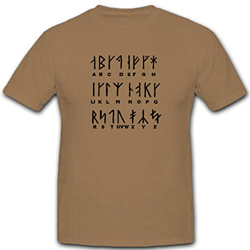 Vikingo runas germanen caracteres Texto letras Alfabeto–Camiseta # 5446 arena XX-Large