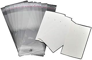 فارغة لك لتخصيصها - أقراط بلاستيكية وورق مجوهرات عرض بطاقات مستطيلة بيضاء مع أكياس إغلاق ذاتية (100)