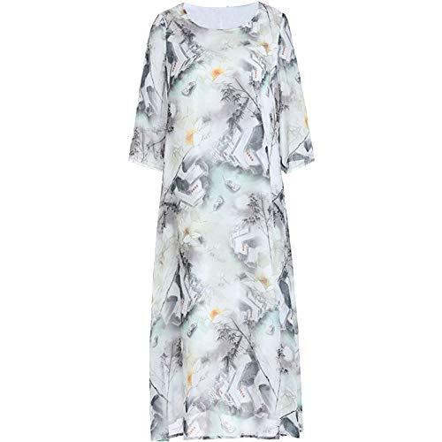 BINGQZ Cocktailjurken Lente en zomer mode vrouwen bijgesneden mouwen ronde hals losse jurk afgedrukte inkt schilderij jurk
