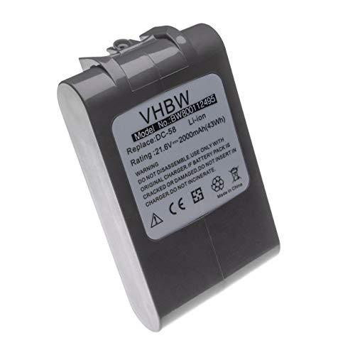 vhbw Li-Ion batterie 2000mAh (21.6V) pour aspirateur Dyson DC62 Animal Pro, Dyson DC74, Dyson V6 Up Top remplace 965874-02.