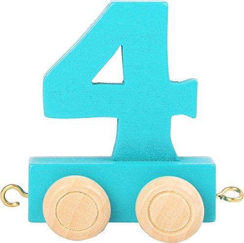 Buchstabenzug | Geburtstags Zahlen und Waggon mit Kerzenhalter | Holzeisenbahn | EbyReo® Namenszug aus Holz | personalisierbar | Geburtstag oder als Deko für den Geburtstagstisch (04 Zahl 4)