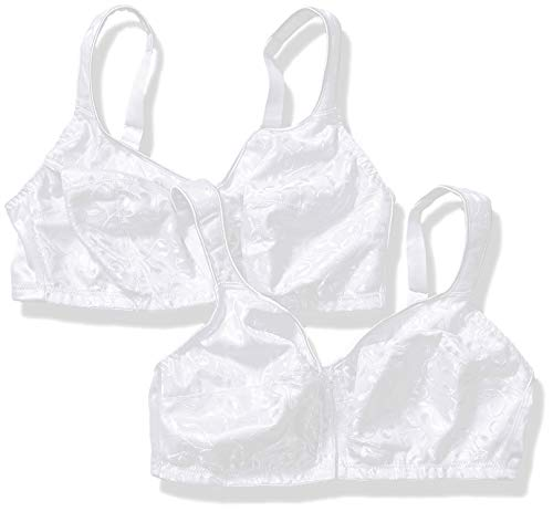JUST MY SIZE Women's Front Close Soft Cup Plus Size Bra MJ1107, White-2-Pack, 52DD