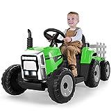 METAKOO Tractor Eléctrico con Remolque, Vehículo Eléctrico de Batería 12V 7Ah para Niños, Control Remoto 2.4G, 2+1 Cambio de Marchas, Bocina, Bluetooth, USB, Reproductor MP3, Faros de 7 LED-Verde