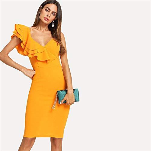 Partykleid Ärmelloses, gerüschtes, figurbetontes Kleid mit Volantbesatz und geteiltem Rückenausschnitt für die Party Frauen mit schmalem Bleistiftkleid-Ingwer_M