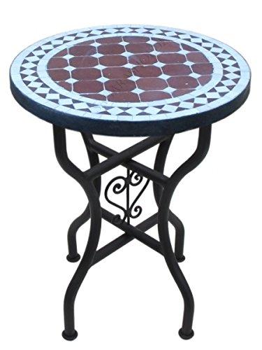 Marokkanischer Mosaiktisch Rund Ø 40 cm Bordeaux