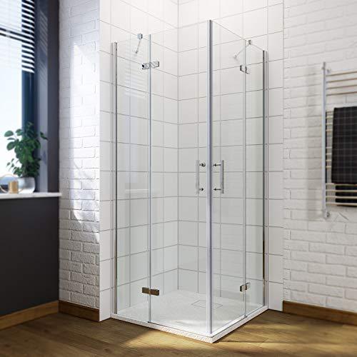 Duschkabine Eckeinstieg Scharniertür 90x70 cm rahmenslos Duschabtrennung