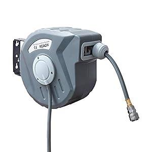 VINGO 10m Manguera de carrete Aire Comprimido Automático retráctil con Soporte para Pared de 180 °conexión 1/4″