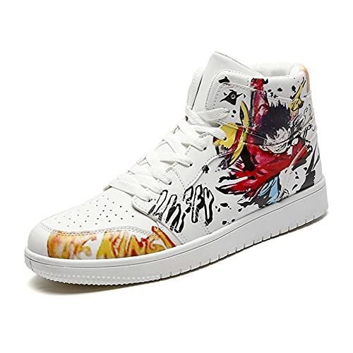 NNBBAA One Piece High Top Sneakers Zapatos de Cosplay Monkey D. Luffy Roronoa Zoro Zapatos de Baloncesto Zapatillas de Deporte para Estudiantes Moda de Anime Zapatos Casuales Hombres Tamaño 39-44