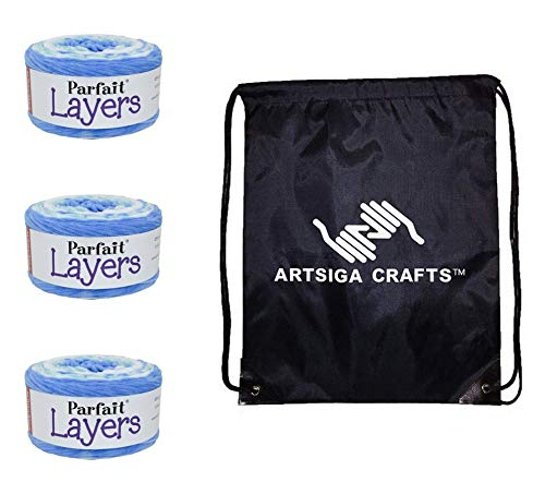 Premier Knitting Yarn Parfait Layers Frosty Blue 3-Skein Factory Pack (Same Dye Lot) 1070-5 Bundle with 1 Artsiga Crafts Project Bag