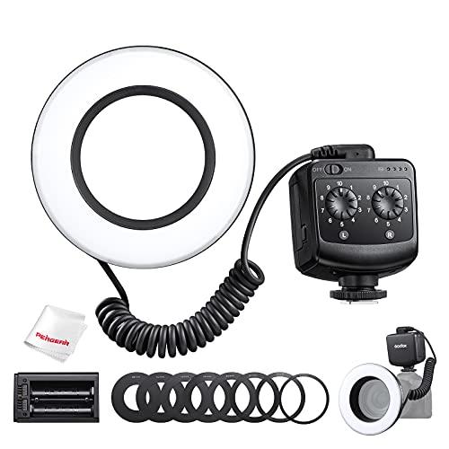Godox RING72 Macro LED Ring Light con 8 anelli adattatori, 8W 5600K 72 LED Macro Flash Ring Light CRI96 TLCI 97, doppio sistema di alimentazione compatibile con la fotocamera DSLR Canon Nikon