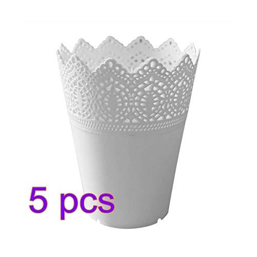 Renquen 1 Stks Kant Plant Container Effen Kleur Pen Make-up Borstel Houder Bureau Organizer Eenvoudige Kunststof Bloem Vaas Potten Voor Thuis Kantoor Tuin Decoratie Wit