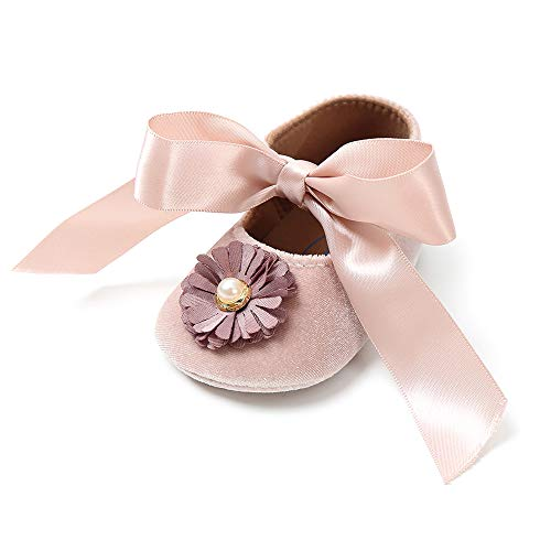 Baby Girls Non-Slip Mary Jane Flats Lace Up Floral Toddler First Walker Sneakers Princess Dress Shoes(Champagne Gold 6-12 Months)