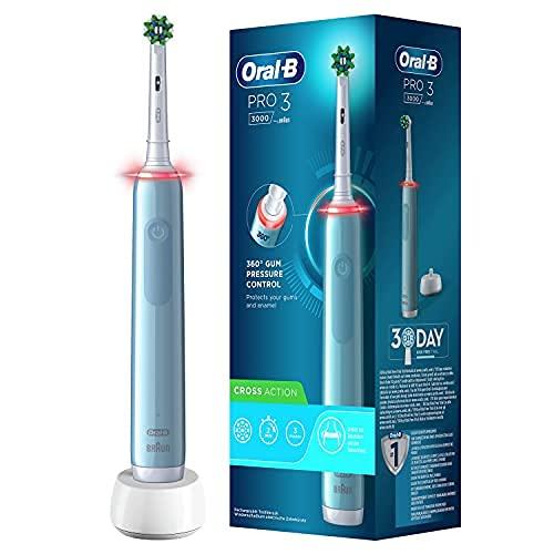 Oral-B Pro 3 3000 - Cepillo de dientes eléctrico con control visual de presión de 360° para una protección adicional de las encías, 3 modos de limpieza, incluye sensitivo, temporizador, color azul