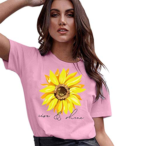 Plus Size Sunflower Printed T Shirts,Sharemen Womens Casual Short Sleeve Tees Summer Loose Blouse Tops(Pink,S)