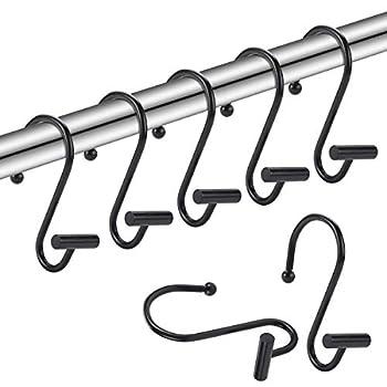 Amazer Shower Hooks for Curtain Rust-Resistant Metal Shower Rings for Shower Curtain Chrome Curtain Hooks Shower Curtain Hooks for Shower Hooks Rod - Set of 12 Black