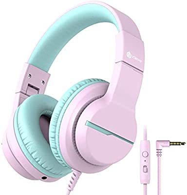 iClever HS19 Kids Headphones Over Ear, HD Stereo Headphones with Microphone for Children, Volume Limiter 85/94dB, Sharing Function, Foldable Headphones for School/Travel/Phone/Kindle/PC/MP3 by iClever