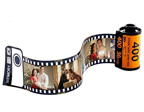 Personalisiert Schlüsselanhänger mit 5 Fotos Gravur Bedrucken mit Buntem Fotofilm-Rollenkamera Schlüsselbund Auto Bild Selbst Gestalten Geschenk für Liebe Frau Mann Vater Weihnachten Geburtstag