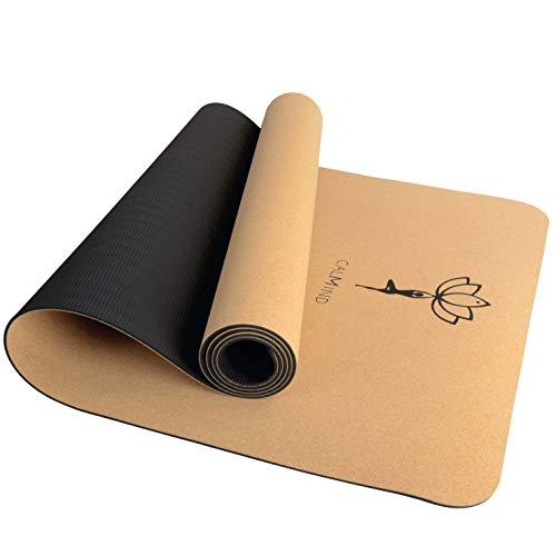 CALMIND Yogamatte Kork - 4mm dünn und 700g leicht - 100% recyclebare Materialien - Kork und TPE - rutschfeste Fitnessmatte für Yoga, Pilates und...