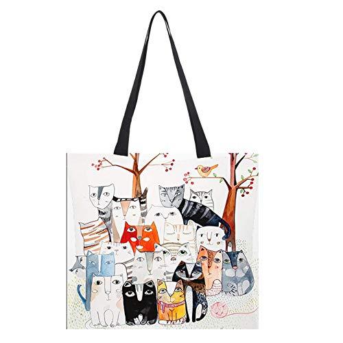 Bolsas de compras reutilizables de algodón y lino, respetuosas con el medio ambiente, bolsas de tela plegables y lavables con pintura al óleo, bolsas de moda respetuosas con el medio ambiente