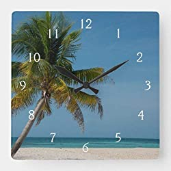 Dwi24isty Classic Wood Clock, Non Ticking Clock Palm Tree and White Sand Beach 2 Square Wall Clock 12 Inch Decorative Clock for Kitchen Living Room