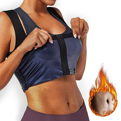zenicham Sauna Suit for Women Waist Trainer Vest Slim Corset Sauna Tank Top Body Shaper with Zipper