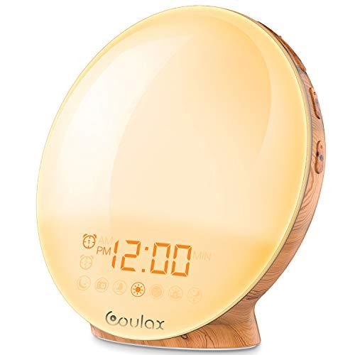 COULAX Wake Up Light 2019 Latest Wood Grain Sunrise Alarm Clock Sunset...
