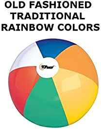 Inflatable Beach Balls Jumbo 24 inch for The Pool, Beach, Summer Parties, and Gifts | 6 Pack Blow up Rainbow Color Be...