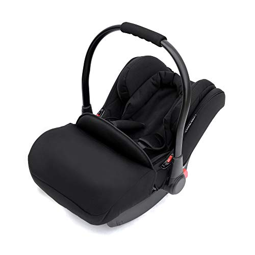 Ickle Bubba Stomp V3 All in One Travel System with Isofix Base | Bundle Includes Carrycot, Pushchair, Car Seat, Accessories | Black on Silver Chassis