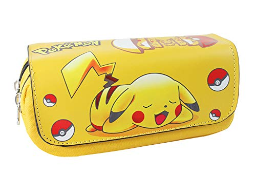 U&M Anime Pocket Monsters Pencil Cases Large Capacity Zippered Cartoon Pen Pencil Pouch Bag Stationery Holder Yellow Pikachu