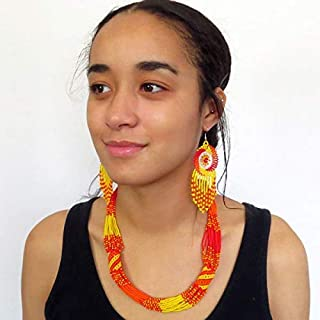 SALE African Zulu beaded short necklace – Sunset collection - Gift for her