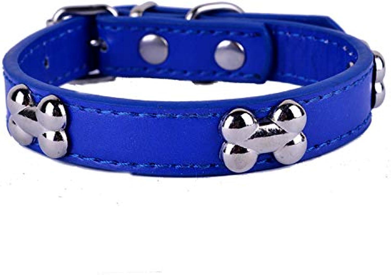 Pet Online Pet Collar Bone Rivet Decoration pu Leather Dog Collar,bluee,L 2.5×3646cm