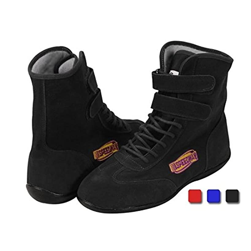Black Hightop Racing Shoes, Size 9.5, SFI 3.3/5, Flexible Leather