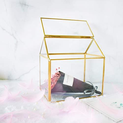 QIANGU Nido de vidrio, Geométrico de Cristal Decoración Terrario Centro de Mesa Maceta Hecho a Mano de Cobre Casa Forma de la Flor de la Maceta para las Plantas Suculentas