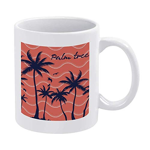 11oz White Coffee Mugs, Red Palm Tree Ceramic Chocolate Mug for Women, Boss, Friend, Employee, or Spouse