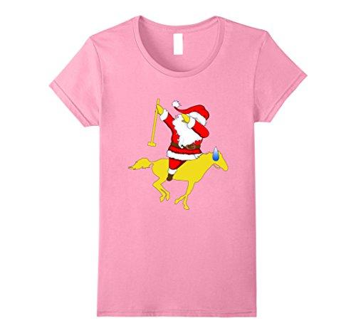 Womens polo dabbing Santa Christmas shirt Small Pink