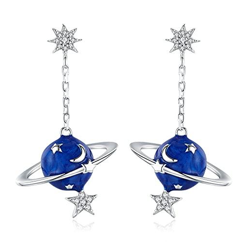 HMMJ Pendientes de botón para Mujer, hipoalergénicos S925 Plata Azul Planeta Misterioso Pendientes Colgantes Piercings Joyería BSE016