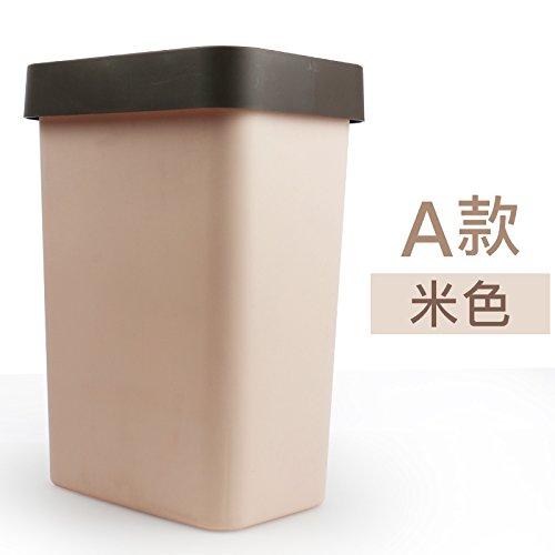 Bacs à ordures extérieurs Xiuxiutian La couverture d'éjection en plastique cuisine santé salon ou Badme-poubelle mereb 18.5*25.5*36 cm, beige