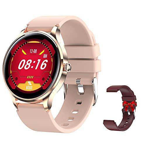 Relojes Inteligentes Mujer 1.57''HD IP68 Deportivo Resistente al Agua Reloj con Monitoreo de Frecuencia Cardíaca del Sueño y del Período(Rosa