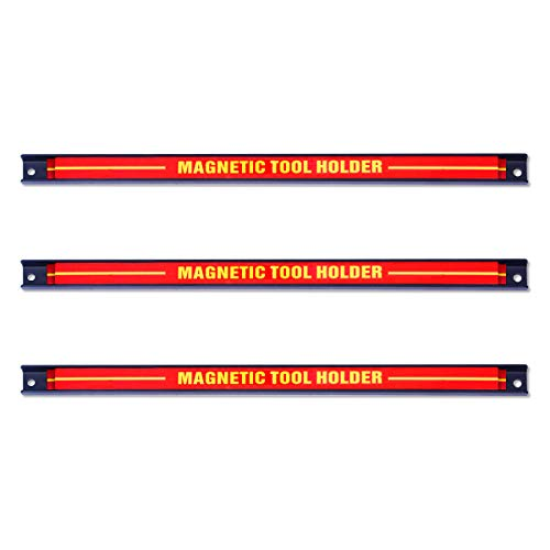 RELAX4LIFE 3 TLG. Magnetleiste aus Stahl, Magnetischer Werkzeughalter, Werkzeugleiste Wand, Werkzeughalterung Magnet, Magnethalterung Werkstatt, Hohe Tragkraft, Inkl. Montagematerial, 46 cm lang