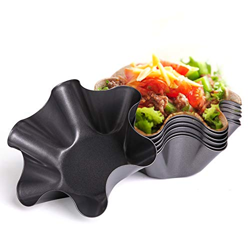 Set of 6 NonStick Fluted Tortilla Shell Pans Taco Salad Bowl Makers NonStick Carbon Steel Tostada Bakers