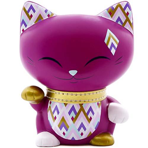 MANI THE LUCKY CAT Gato de la buena suerte, collar dorado 11 cm