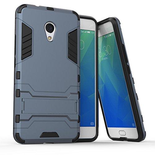 Meizu M5s Hülle, SsHhUu Stoßsichere Dual Layer Hybrid Tasche Schutzhülle mit Ständer für Meizu M5s 2017 (5.2 Zoll) Blue Black