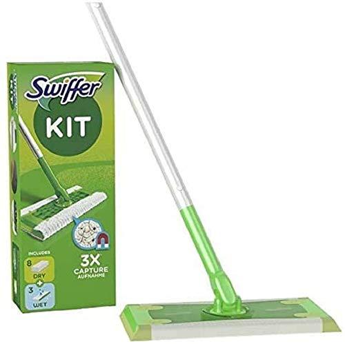 Swiffer Bodenwischer und Bodentücher (Bodenstab + 8 Trockentücher + 3 Feuchte Bodentücher) Wischer gegen Staub, Tierhaare & Allergene