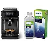 Philips EP2220/10 Cafetera superautomática, Acero Inoxidable, Negro Mate + CA6700/10 Descalcificador para Máquinas de Café Espresso Manuales y Automáticas, 0 W, 250 ml, 0 Decibelios, Plástico, Verde