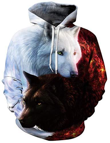ALISISTER Hoodie Herren Damen 3D Coole Galaxis Wolf Muster Pullover Kapuzenpullover Teen Mädchen Jungen Kapuzenpullis Sweatshirt mit Taschen M