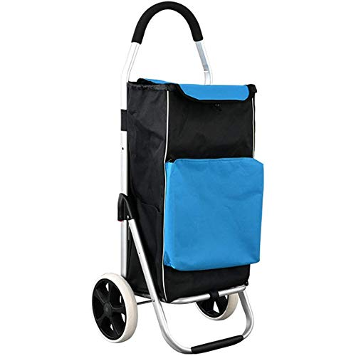 PLAYH Shopping Trolley, Foldable Folding Shopping Cart, Shopping Trolly With 1680D Waterproof Cloth Bag, Hand Truck With Insulation And Cooling Chamber, 55L Large Capacity