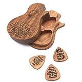 festnight accessori per chitarra plettro per chitarra in legno plettro per chitarra in legno e plettri plettro per chitarra scatola portaoggetti per plettro una scatola + tre plettri