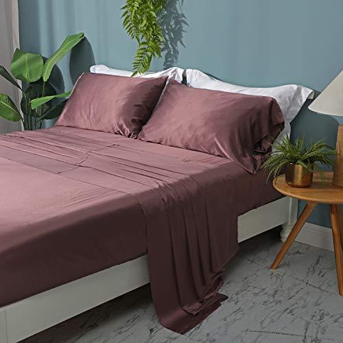 ZIMASILK 4 Pcs 100% Mulberry Silk Bed Sheet Set,All Side 19 Momme Silk(Queen Grey Purple)
